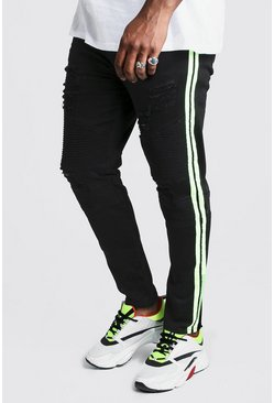 Black Big And Tall Skinny Fit Neon Side Tape Biker Jean
