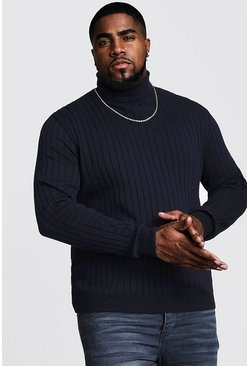 Mens Navy Big And Tall Roll Neck Knitted Jumper