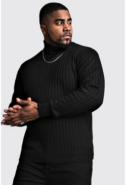 Mens Black Big And Tall Roll Neck Knitted Jumper