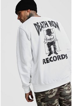Mens White Death Row Records License Sweatshirt