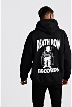 Mens Black Death Row Records License Front & Back Hoodie