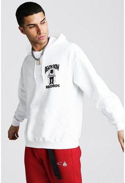 Mens White Death Row Records License Hoodie
