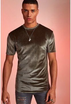 Khaki Velour Curved Hem Muscle Fit T-Shirt