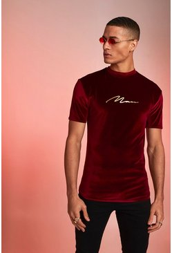 Mens Burgundy MAN Signature Foil Print Velour Muscle T-Shirt