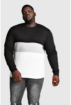 Mens Black Big And Tall Colour Block Sweatshirt