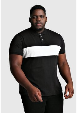 Black Big And Tall Colour Block Jersey Polo