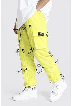 Yellow Loose Fit All Over Toggle Cargo Trouser