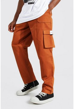 Tan Relaxed Twill Belt Front Cargo Trouser
