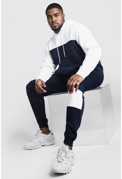 Navy Plus Size Colour Block Tracksuit