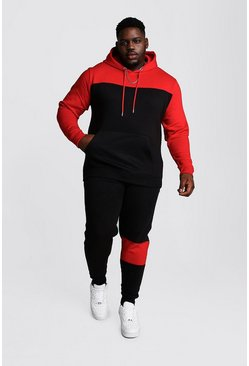Black Big And Tall Colour Block Tracksuit