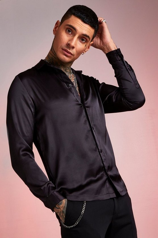 Long Sleeve Satin Shirt by Boohoo Man
