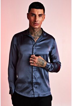 Mens Petrol Long Sleeve Satin Shirt