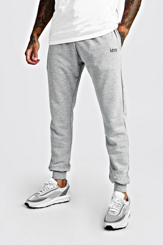 Mens Grey MAN Signature Slim Fit Jogger