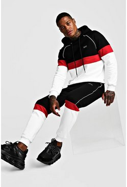 Black MAN Colour Block Hooded Reflective Piping Tracksuit
