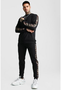 MAN Sweater Tracksuit With Camo Panels, Black
