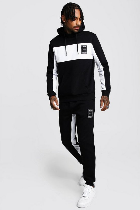 Black MAN Official Hooded Tracksuit With Tricot Panels
