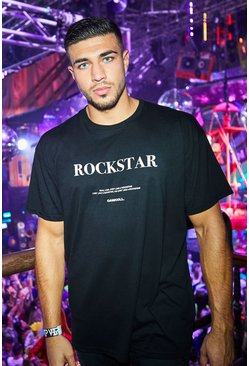 Mens Black Oversized Rockstar Print T-Shirt