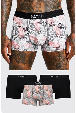 Grey 3 Pack Leaf Print Trunk