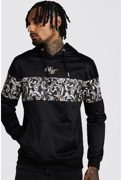 B&M OTH Tricot Hoodie With Baroque Panels, Black