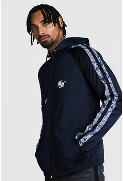 Mens Navy B&M Zip Through Tricot Hoodie With Printed Panel