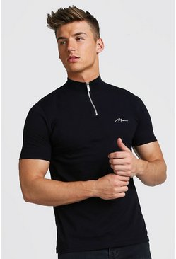 Black Muscle Fit MAN Signature Turtle Neck Zip Polo