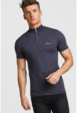 Charcoal Muscle Fit MAN Signature Turtle Neck Zip Polo