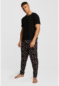 Christmas Tree Print Lounge Set, Black, HOMMES