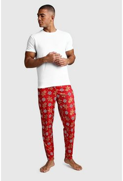 Christmas Gingerbread Man Print Lounge Set, Red, HOMMES