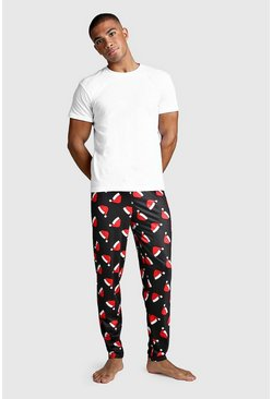 Christmas Santa Hat Print Lounge Set, Black, HOMMES