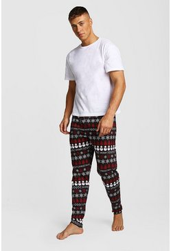 Christmas Fairisle Print Lounge Set, Black, HOMMES