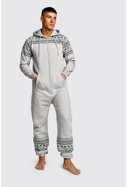 Mens Grey Christmas Print Onesie