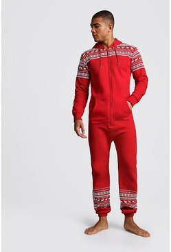 Mens Red Christmas Print Onesie