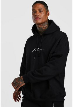 Black MAN Signature Oversized Hoodie