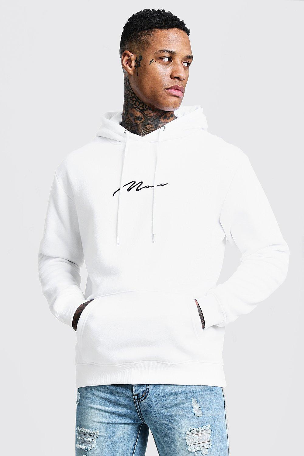 MAN Signature Embroidered Hoodie | boohooMAN