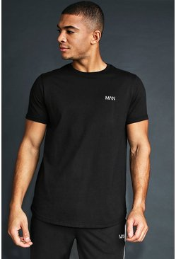 Mens Black MAN Active T-Shirt With Curved Hem & Reflective