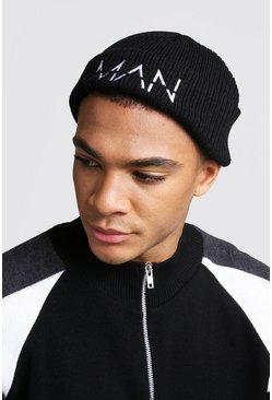 White Embroidery MAN Fisherman Beanie, Black, HERREN