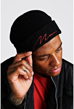 Red Embroidery MAN Script Fisherman Beanie, Black, HERREN