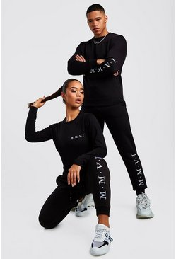 Hers Crew Neck Bodysuit & Jogger Set, Black