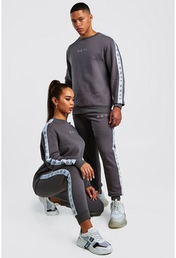 Hers Oversized Tape Sweat & Jogger Set, Charcoal