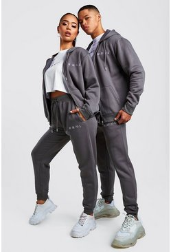 Womens Charcoal Hers 3pc Zip Hoodie Crop & Jogger Set