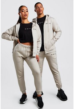 Hers 3pc Zip Hoodie Crop & Jogger Set, Stone