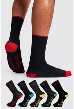 Mens Black 5 Pack Days Of The Week Socks