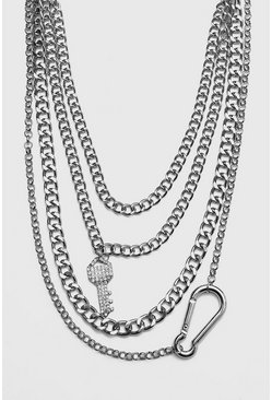 Iced Out Multi Layer Key Necklace, Silver, HERREN