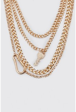 Iced Out Multi Layer Key Necklace, Gold, HERREN