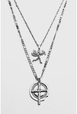 Flat Chain Double Layer Pendant Necklace, Silver, HERREN