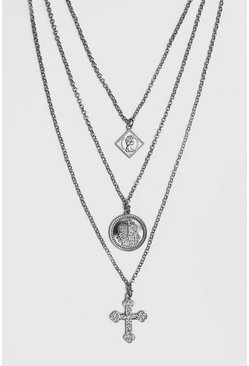 Triple Layer Pendant Necklace, Silver, HERREN