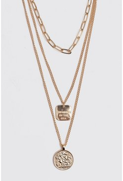 Multi Chain Coin Necklace, Gold
