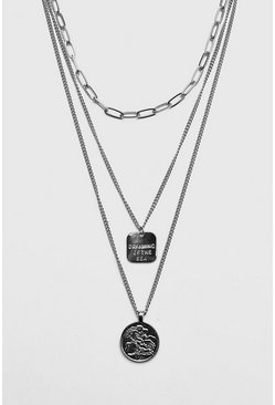 Multi Chain Coin Necklace, Silver, HERREN