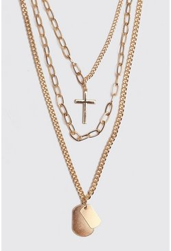 Multi Layer Chain Necklace, Gold