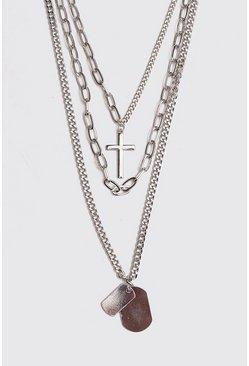 Silver Multi Layer Chain Necklace